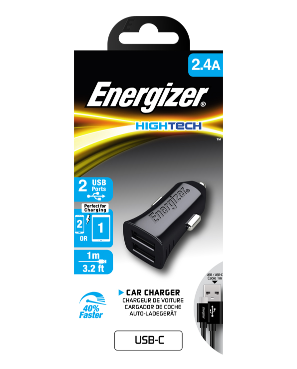 ENERGIZER CAR CHARGER 2.4A 2USB 2