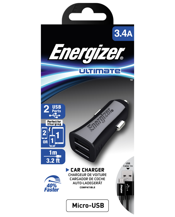 ENERGIZER CAR CHARGER 3.4A 2USB 2