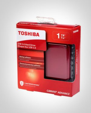 Toshiba 1TB Canvio Advanced Portable USB3.0 Hard Drive Red