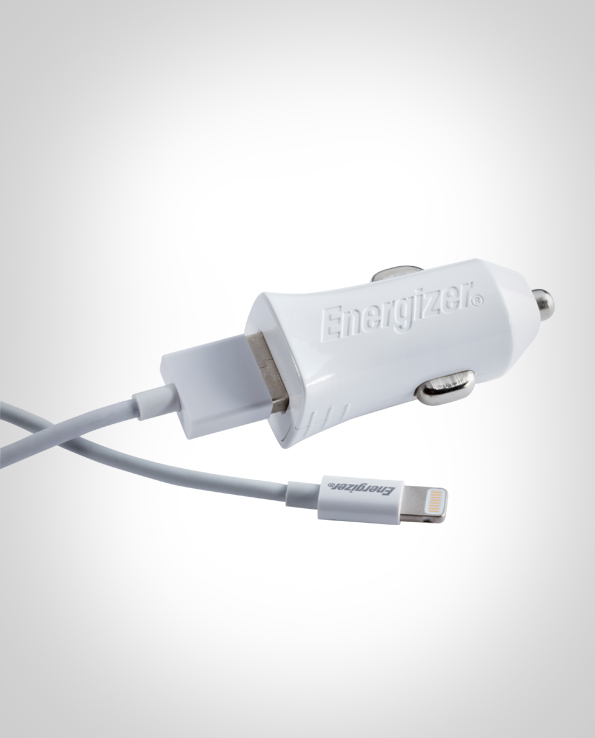 ENERGIZER CAR CHARGER 2.4A 1 USB +Lightning Cable White DCA1BHLI3